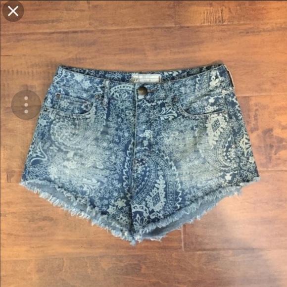 Free People Pants - Free People Paisley Denim Shorts